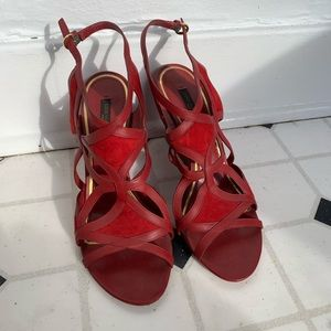 Red Louis Vuitton Wedge Heel